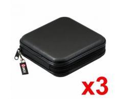3PCS QUMOX Classeur Rangement Boîte pochette CD transport Rangement zippée antichoc 40 CD DVD noir