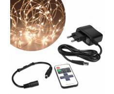 Kwmobile Guirlande Lumineuse Led 20 M - Lumière Décoration Éclairage Blanc Chaud Réglable - Fil De Cuivre Avec Prise Secteur Et Télécommande