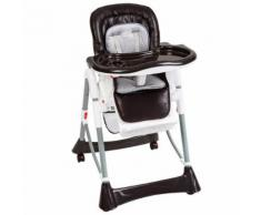 Chaise Haute Pour Bébé / Enfant Grand Confort Pliable - Sécurité À 5 Points - Hauteur Réglable - 6 Mois À 3 Ans Blanc Marron Tectake