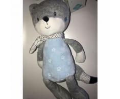 Doudou Chien Renard Ours Tex Baby Bleu Gris Blanc Etoiles Peluche Grand Modele Jouet Eveil Bebe