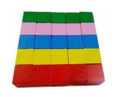 Lot De 25 Pcs Cubes En Bois Jeu De Construction Jouet Cadeau Pour Enfant Bébé