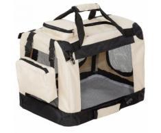 Cage De Transport Pour Chien Sac Box Panier Caisse Beige Et Noir 50x35x35 Cm 3708028