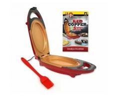 Minute Cooker + Spatule - Cuiseur électrique avec surface anti-adhésive en céramique renforcée - Crêpes, omelette, plaque de cuisson, barbecue, machine à pizza