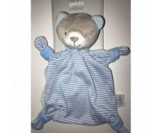 Doudou Ours Bleu Gris & Blanc Raye Peluche Jouet Eveil Bebe Comforter Soft Toys Blue White Teddy Bear