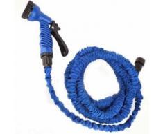 Tuyau d'arrosage extensible retractable 7.5 metres Pistolet Offert Solide Jardin puissant bleu