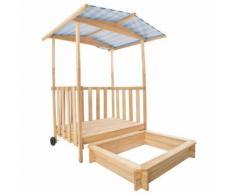 Bac À Sable, Cabane De Jardin Enfant Avec Toit Et Véranda En Bois - 106 Cm X 105 Cm X 135 Cm - Blanc Bleu - Tectake