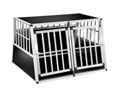 Tectake Cage De Transport Pour Chien Double En Aluminium 104 Cm X 90,5 Cm X 69 Cm Noir