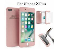 Ebuy® Pour Iphone 8 Plus 360° Protection Complet Coque Etui Verre Trempé Film Rose Doré (Abc-Store)