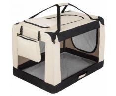 Cage De Transport Pour Chien Sac Box Panier Caisse Beige Et Noir 102x69x70 Cm 3708032