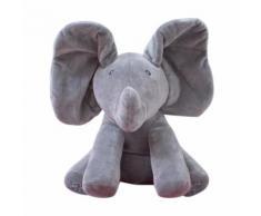 Eléphant En Peluche Musique Électrique Éléphant Pour Cache-Cache Jouet Pour Bébé -Gris