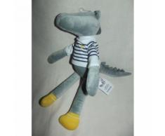 Doudou Crocodile Aligator Marin Okaidi Obaibi Gris Jaune Blanc Rayé Bleu Marine Jouet Bebe Naissance Peluche Éveil Enfant Comfort Blanket Comforter Soft Toy 33 Cm