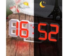 Led Rouge Numérique 3d Numéros Horloge Murale Avec 3 Niveaux De Luminosité Alarme Snooze Horloge