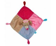 Doudou Mouchoir Chien Lief Lifestyle Plat Carre Rose Fuchsia Beige Bleu Carreaux Vichy Peluche Eveil Bebe Chienne Jouet Soft Toys Dog Comforter