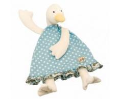 Doudou Plat Jeanne La Cane Oie Canard Moulin Roty Collection La Grande Famille Bleu Pois Blanc Fleurs Jouet Bebe Naissance Enfant Comfort Blanket Comforter Soft Toy Peluche