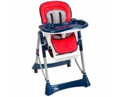Chaise Haute Pour Bébé / Enfant Grand Confort Pliable - Sécurité À 5 Points - Hauteur Réglable - 6 Mois À 3 Ans Bleu Rouge Tectake
