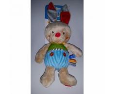 Doudou Lapin Ouatoo Baby Marron Beige/Crème/Écru Rouge Bleu Vert Maxi Toys Jouet Bebe Naissance Peluche Éveil Enfant Blanket Comforter Soft Toys 24 Cm Oreilles 9 Cm