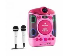 auna Kara Projectura Lecteur karaoké projecteur lumière LED + 2 micros - rose