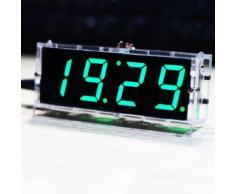 CNYO® Compact DIY Numérique LED Horloge Kit 4 chiffres Lumière Contrôle Température Date Heure Affichage W / Transparent Case pour intérieur en plein air