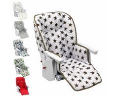 Housse D'Assise Pour Chaise Haute Bébé Enfant Gamme Ptit - Ptit Stars Blanc - Monsieur Bébé