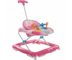 Trotteur Interactif Avec Poussoir Et Volant Pour Bébé 6-12 Mois | Rose
