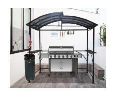 Habrita Foresta - Carport pour barbecue à double toit en acier 2,63 x 1,50 x 2,40 m gris anthracite - CAR2415AC