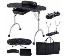 Table De Manucur Portable Ongle Pliant Avec Un Tiroir De Haute Qualité Noir