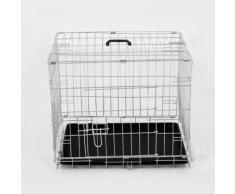 Cage Caisse De Transport Pliante Pour Chien En Métal Argenté 91 X 61 X 67 Cm 28