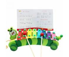 8 Échelles Caterpillar Trailer Xylophone Hand Knock Piano Jouet En Bois