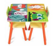 Ensemble Table Et 2 Chaises Pour Enfants Multicolores Avec Images Animaux