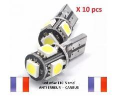 10 Ampoule Led W5w Anti Erreur Odb T10 Canbus Voiture Moto Xenon 6500k Veilleuse