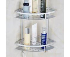 Aluminium durable 2 Douche étagère d'aspiration Niveaux d'angle étagères de douche