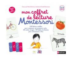 Mon Coffret De Lecture Montessori - Contient : 30 Cartes Images, 120 Lettres Mobiles, 30 Tickets De Lecture, 1 Casier De Rangement Des Lettres, 1 Livre Pour Accompagner Les Parents