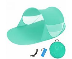 Abri De Plage, Tente De Plage Pop Up, Auvent, Parasol, Par Soleil, Protection Uv + Sac De Transport Vert Tectake