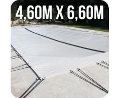 Linxor France ® Bâche d'hivernage PVC beige 580g/m² pour piscine 4 x 6m + accessoires - Norme CE
