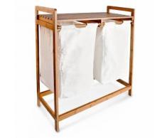 Relaxdays Panier à linge corbeille 2 compartiments bambou sacs en toile blanc Poignées tri