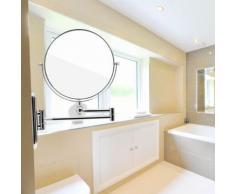 Tempsa Miroir De Maquillage 7x Loupe Double Coté Mur Télescopique Bras Pour Salle De Bain Argent