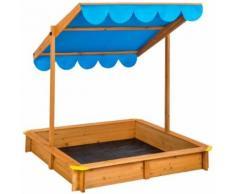 Bac À Sable Cabane De Jardin Enfant En Bois Avec 1 Toit Et 1 Bâche 120 Cm X 120 Cm X 120 Cm Bleu Tectake
