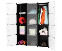 LANGRIA 12-cube rangement étagère placard armoire penderie avec portes blanches translucides pour vêtements de maison chaussures jouets