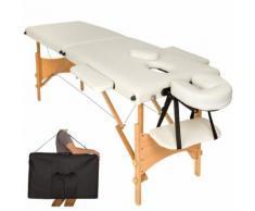 Table De Massage Pliante 2 Zones Bois, Cosmétique, Lit De Massage Portable Beige Tectake + Housse Sac De Transport