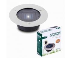Spot encastrable solaire 1 LED Allumage automatique 12cm acier inoxydable