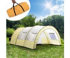 Tectake Tente De Camping 4 À 6 Places Familiale Tunnel 480 Cm X 350 Cm X 195 Cm Gris Beige