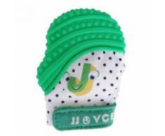 Yarui-World® Bébé Dents Silicone Gants Mitaine Jouet Dentition Sucette Mitten Moufles Vert