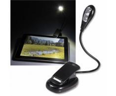 Lampe veilleuse LED lecture a pince clip flexible pour livre Kindle ebook iPad