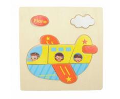 Jouet Puzzle 3d Jouet Jeux De Puzzle En Bois Multicolore Casse-Tete Educatif Cadeau Pour Enfant - Avion