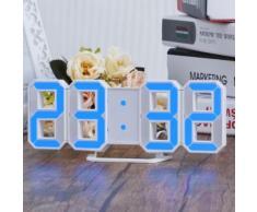 LED Bleu numérique 3D Numéros Horloge murale avec 3 niveaux de luminosité Alarme Snooze horloge