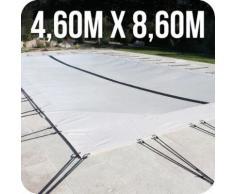 Linxor France ® Bâche d'hivernage PVC beige 580g/m² pour piscine 4 x 8m + accessoires - Norme CE