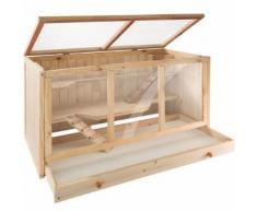 Tectake Cage, Clapier À Lapin, Petits Animaux, Hamster, Rongeurs À 2 Etages En Bois De Pin 95 Cm X 50 Cm X 50 Cm Marron