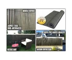 Intimo Ecran Composite Type Canisse Plein Haute Qualité PVC Noir/Anthracite 300 x 0,5 x 100 cm