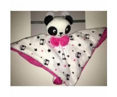 Doudou Panda Kimadi Blanc Noir Rose Etoiles Noires Tetes Pandas Plat Jouet Eveil Bebe Naissance Cuddly Toy Soft Toys Plush