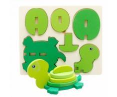 Montessori Mini 3d Puzzle Enfants Éducation Drôle Jouet En Bois Coloré Puzzle Cadeau Tortue